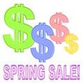 Venda da mola com sinais de dólar Imagens de Stock Royalty Free