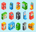Vending Dispensing Machines Isometric Icons Collection