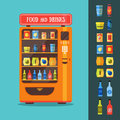 Vending Machine with Food and Drink Packaging Set. Vector