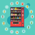 Vending machine with product items. Vector illustration in flat style.