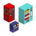 Vending machines isometric set vector illustration