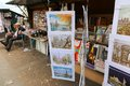 Vendor booths at seine street riverbank sell books and paintings in paris Stock Photo