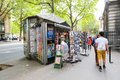 Vendor booths at seine street riverbank sell books and paintings in paris Royalty Free Stock Images