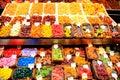 Vendor display at a farmer Market in Barcelona Royalty Free Stock Photo