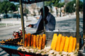 Vendor in istanbul street selling boiled corn and chestnuts turkey Royalty Free Stock Photo