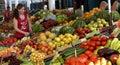 Vendor sells vegetables at the market in sofia bulgaria jun Stock Photo