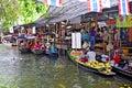Khlong Lat Mayom floating market in Bangkok Royalty Free Stock Photo