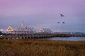 Vendue wharf pier dawn at and the cooper river at waterfront park in charleston south carolina Stock Photo