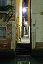 Venetian alley in the darkness italy Stock Photography