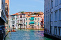 Venetian canal palaces seen from a side of the grande Stock Photography