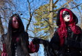 Venetian carnival at annecy france black gothic female couple the Stock Images