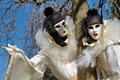Venetian carnival at annecy france black and white pierrot couple the Royalty Free Stock Photos