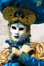 Venetian carnival at annecy france blue and yellow person the of Royalty Free Stock Image