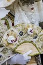 Venetian carnival costume traditional with the fan Royalty Free Stock Photos