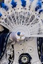 Venetian carnival costume traditional with the fan Stock Photography
