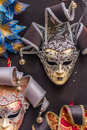 Venetian carnival masks hanging - 3 Royalty Free Stock Photo