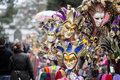 Venetian carnival masks market stands with souvenir from venice Stock Image