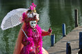 Venetian costume on a jetty Royalty Free Stock Photography
