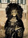 Venetian costume woman with a feather mask in venice Stock Image