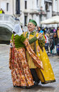 Venetian couple dancing venice italy march unidentified happy wearing traditional clothes dance on sestiere castello in venice Stock Images