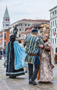 Venetian couples dancing venice italy march unidentified happy wearing traditional clothes dance on sestiere castello in venice Royalty Free Stock Image