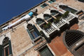Venetian facade with laundry hanged Royalty Free Stock Photos