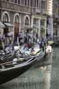 Venetian gondola boats Royalty Free Stock Images