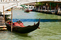 Venetian gondola near the waterfront canal Royalty Free Stock Image
