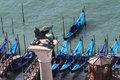 Venetian gondolas gondola on grand canal view from top Royalty Free Stock Images