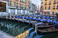 Venetian gondolas at parking Royalty Free Stock Image