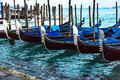 Venetian gondolas photograph of the near san marco s square venecia italy Stock Photo