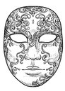 Venetian mask illustration, drawing, engraving, ink, line art, vector Royalty Free Stock Photo