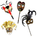 Venetian masks collection of carnival isolated on white Stock Photography