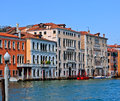 Venetian palaces at the canal grande in venice italy Royalty Free Stock Photos