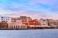 Venetian quay at sunrise chania crete greece with kucuk hasan pasha mosque dawn Stock Photos
