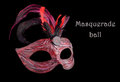 Venetian red Carnival half mask with feathers, at black background. Royalty Free Stock Photo