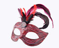 Venetian red Carnival half mask with feathers Royalty Free Stock Photo