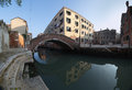 Venetian square and channel with bridge Royalty Free Stock Photos