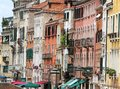 Venetian-style buildings with facades of many colors in Venice i Royalty Free Stock Photo