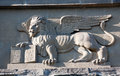 Venetian winged lion bas relief of with the book and pax tibi marce evangelista meus inscription Royalty Free Stock Photo