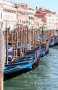 Venezia gondola port in italy Stock Photos
