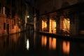 Venezia night streets in italia Stock Images