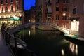 Venezia night streets in italia Royalty Free Stock Images
