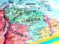 stock image of  Venezuela focus macro shot on globe map for travel blogs, social media, website banners and backgrounds.