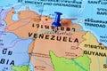 Venezuela map macro shot of with push pin Royalty Free Stock Images