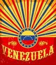 Venezuela vintage old poster with venezuelan flag colors