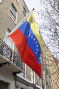 Venezuelan flag in front of their london embassy the flying building at grafton way w t dl Stock Images