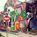 Venice beach street art house decorated with spray paint by jules muck Stock Photo