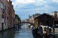 Venice canal boathouse on the Royalty Free Stock Photo
