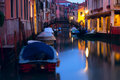 Venice canal by night Stock Images
